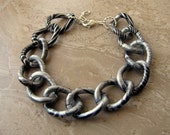 Chunky Chain Bracelet - Silver and Black Chain, Lightweight Chain Bracelet