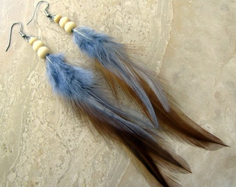 Feather Earrings - Brown and Grey, Beaded Feather Earrings, Tribal Feather Jewelry - Smoke