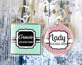 Pretty Moroccan Print Pet ID Tag-Teal or Pink