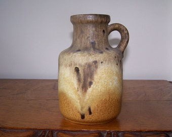 Mid Century Modern, West German, Pottery Vase, Scheurich Pottery, Scheurich 414-16, Fat Lava, Keramik, Vase with Handle,