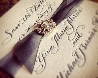Calligraphy Letterpress Wedding Save the Date with Silk and Vintage Styled Embellishment Love No.1075