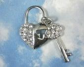 10 Big Heart Lock & Key Rhinestone Crystal Silver Charm Sets - Glam Wedding Bouquets Boutonniere (P1039 -10)