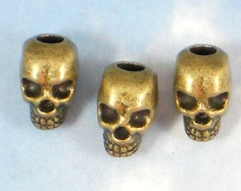 BuLK 25 Skull Beads Large Hole Bronze Tone Top to Bottom 4mm Hole 12mm Beads 3D (P084 -25)