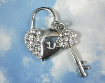 1 Bling Heart Lock & Key Rhinestone Crystal Silver Charm Set - Bridal Bouquet,  Prom Corsage, Boutonniere (P1039)