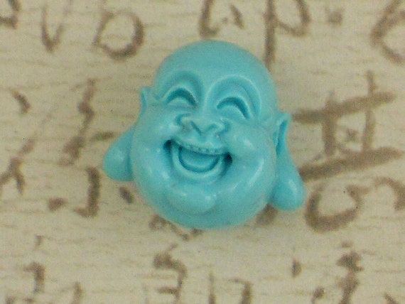 LAST 4 Buddha Head Beads Turquoise Laughing Large 19mm