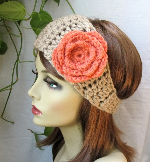 Crochet Headband Ear Warmer, Taupe, Ski Headband, Flower, Chunky, Gifts for her, Birthday Gifts, Handmade - HBJE368F4