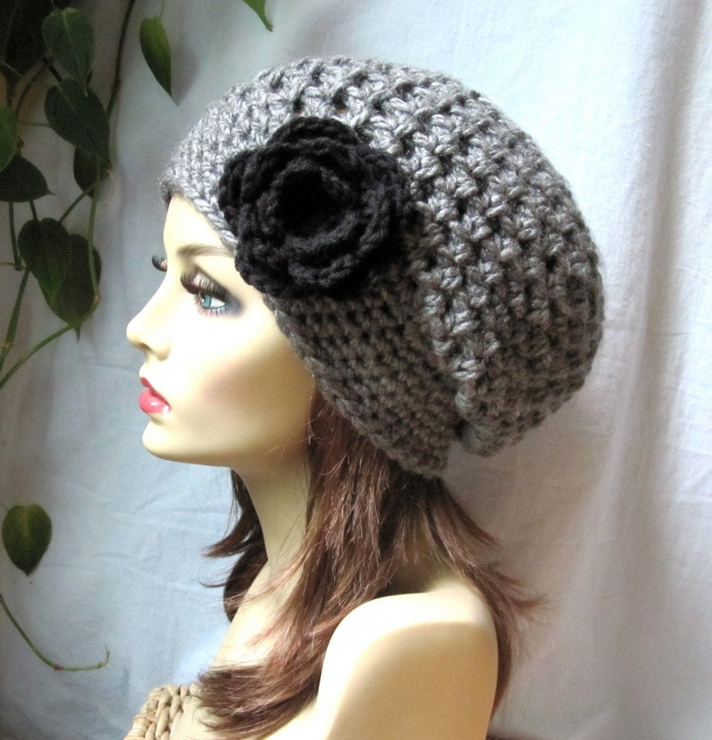 Items similar to Crochet Beret Womens Hat, Slouchy Beret, Charcoal ...