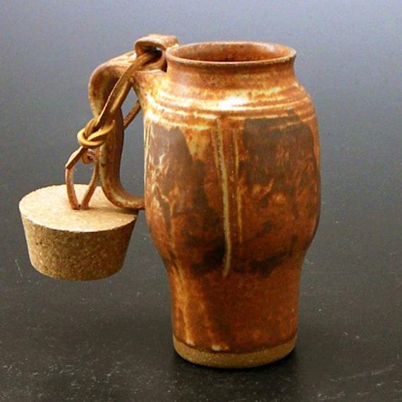 Large Plain Jane Stoneware Travel Mug With Cork, Cup Holder Style
