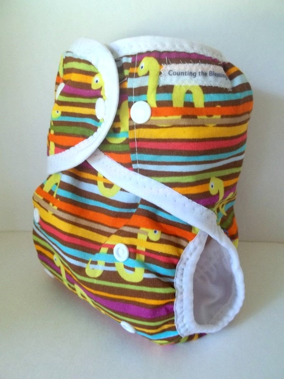 One Size Cloth Diaper with gussets, Baby Cloth Diaper, AI2,  Hybrid PUL wipeable diaper with insert, snakes