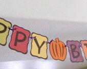 Bright and Colorful Fall Themed HAPPY BIRTHDAY Banner/Garland, party, decoration, autumn foliage, bunting, pumpkin 1st