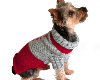 Red Dog Sweater with rib neck and sleeves