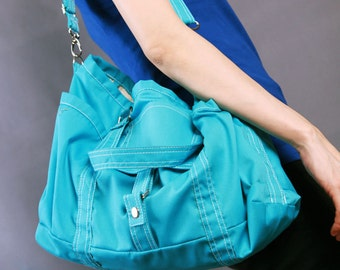 Sale 30%OFF-Ready To Ship-Bag in Teal/Shoulder bag/messenger bag/diaper/tote bag/handbag/school bag/laptop bag/tote/For Him/For Her -063