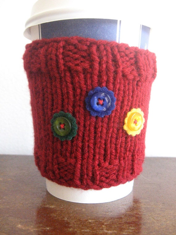 Cranberry Red Flowered Yellow Green Blue Knit Coffee Cup Cozy Knit Coffee Sleeve