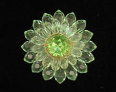Vintage West Germany Green Plastic Flower Pin