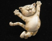 Reserved for C do not buy Vintage JJ Jonette Jumping Kitty Cat Pin Brooch 1980s