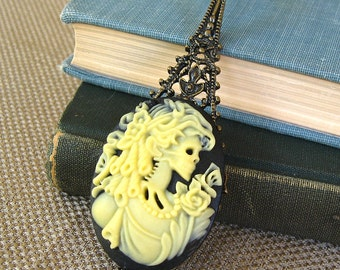 Zombie Romance II - Gothic cameo brass necklace - Bountiful Winepress