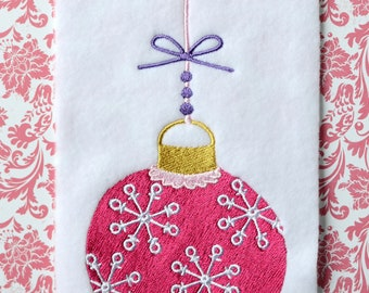 Pink Bauble, INSTANT DIGITAL DOWNLOAD, Christmas Embroidery Design for Machine Embroidery 5x7