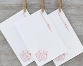 Cupcake Letterpress Recipe Card Set - 10pack Modern Cupcake Cherry Frosting Light Pink (RCU1)