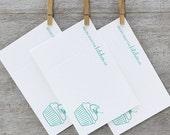 RECIPE CARD Set Letterpress - 10pack Modern Cupcake Cherry Frosting Light Aqua Blue Aquamarine (RCU02)