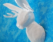 White Jackalope Head, Faux taxidermy