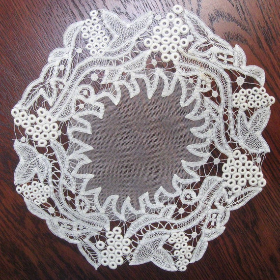 Vintage Lace Doily Honiton Devon English Hand Made 1950s