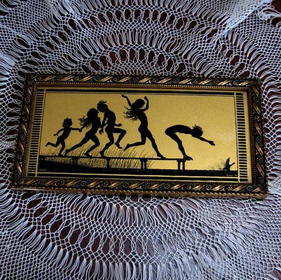 Vintage Art Nouveau Picture Nude Silhouettes The Four Seasons Summer Fidus 1920s