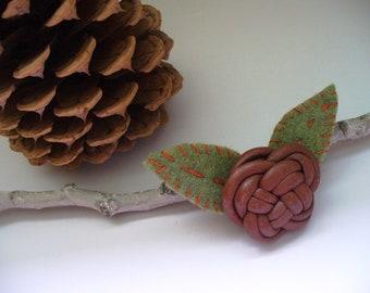 Celtic Brooch Leather Knot Felt Leaves Woodland Gift for Her