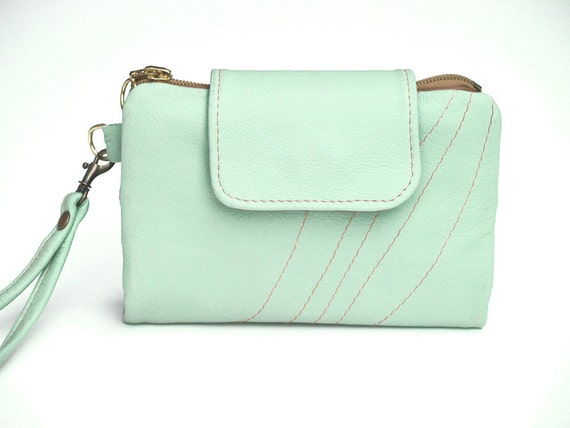 Leather Wallet Wristlet, Mint & Sepia Leather, iPhone 4, 4s, iPhone 5 Wallet / Retro Modern Urban
