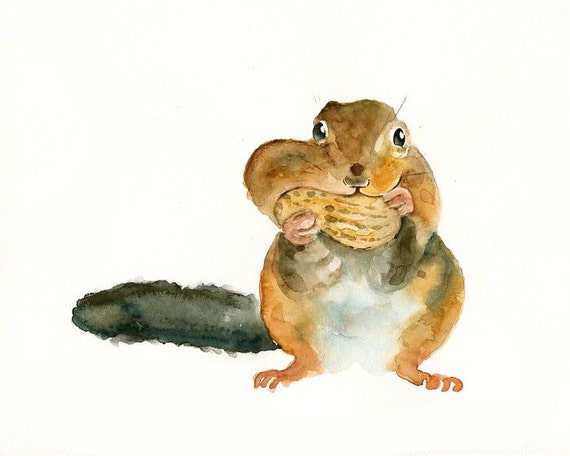 CHIPMUNK with his NUT by DIMDI Original watercolor painting 10X8inch