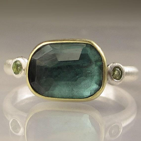 Rose Cut Green Tourmaline and Peridot Ring - 18k Gold and Sterling