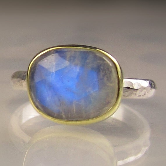Rose Cut Rainbow Moonstone Ring, 18k Gold and Sterling Silver