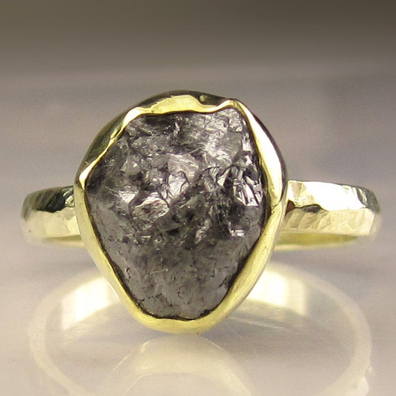 Rough Diamond Engagement Ring - 18k and 14k Yellow Gold