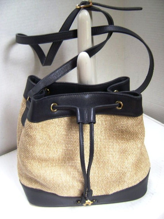 Vintage Etienne Aigner Handbag, Navy Leather and Sandtone Jute,  Satchel, Unstructured and Gold Horshoe Logo, Summer Classic