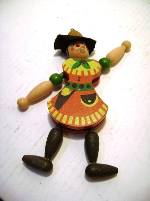Vintage Jumping Jack Austrian Puppet Pull Toy, Classic Bavarian Costume Alpine Hat Leaping Lederhosen, Wooden Folk Art, Dancing Man