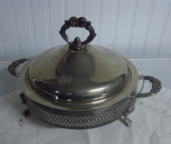 Vintage Silver Serving Dish with the Fire King Insert