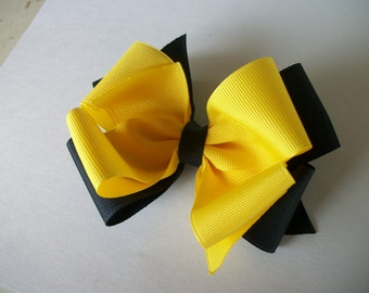 Toddler Hair Bow, Yellow   and Navy  Big Double Boutique Hair Bow