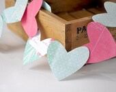 Paper Garland, 4 Feet of Pink and Magenta Hearts