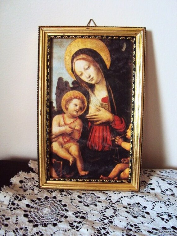 Vintage Madonna and Child Picture Roman Catholic Italian