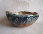 Small Wood Fired Dish Bowl with Blue Glazed Rim and Texture