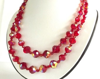 Vintage Necklace Red Crystal Beads Diamond Rhinestone Clasp Retro 1950 Two Strand Necklace