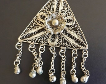 Vintage Necklace Pendant Silver Retro 1950 Costume Jewelry Dressy Casual Womens Accessories