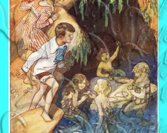 s381 Vintage Fairy Tale Mermaids Print Fabric Square Block Mermaids Applique for Decoupage.
