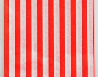 Set of 50 - Traditional Sweet Shop Red Candy Stripe Paper Bags - 5 x 7