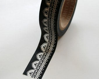 Washi Tape - 15mm - White Lace Design on Black - Deco Paper Tape No. 392