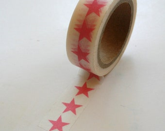 Washi Tape - 15mm - Pink Large Stars on White Pattern - Deco Paper Tape No. 376