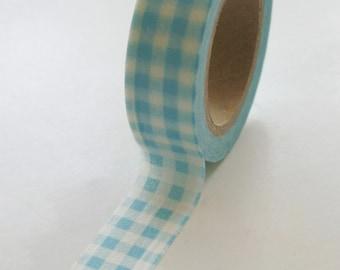 Washi Tape - 15mm - Light Aqua Gingham - Deco Paper Tape No. 77