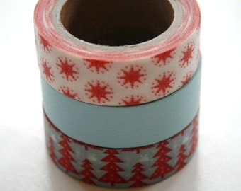 Washi Tape Set - 15mm - Combination EM - Starry Winter Night - Three Rolls Washi Tape No. 31 / 456 / 466
