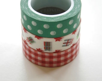 Washi Tape Set - 15mm - Combination EU - Holiday Red Green Gift Theme - Three Rolls Washi Tape 454/78/472