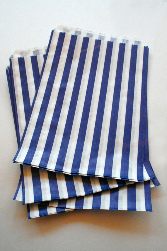 Set of 50 - Traditional Sweet Shop Blue Stripe Paper Bags - 10 x 14 New Style