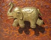 Elephant Drawer Knobs - Elephant Furniture Knobs with swirls in Brass (MK134B)